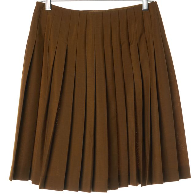 PRADA Brown Mohair Wool Pleated Above Knee A-Line Skirt