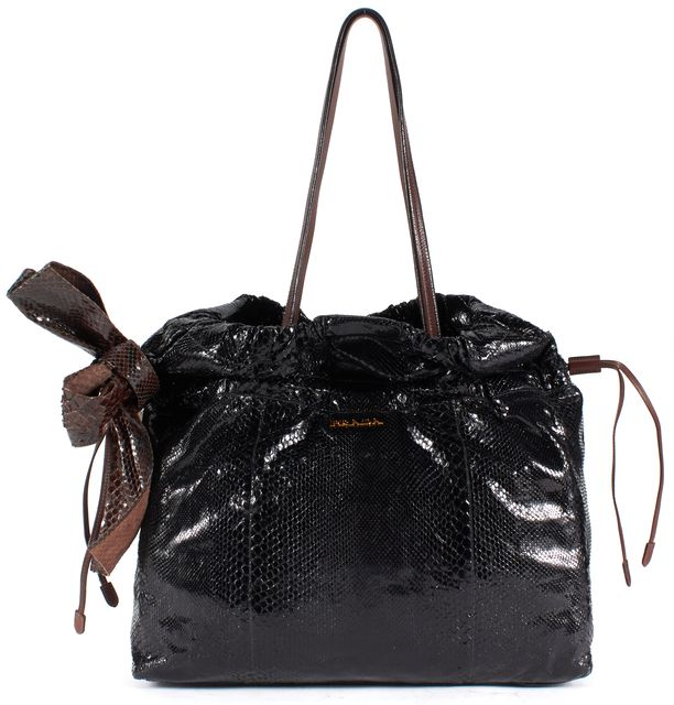 PRADA Black Python Embossed Patent Leather Shoulder Bag