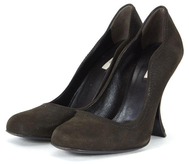 PRADA Brown Pebbled Suede Curved Heel Pumps