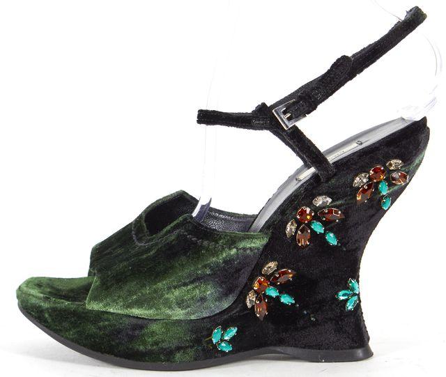 PRADA Green Velvet Jewel Embellished Slingback Wedges