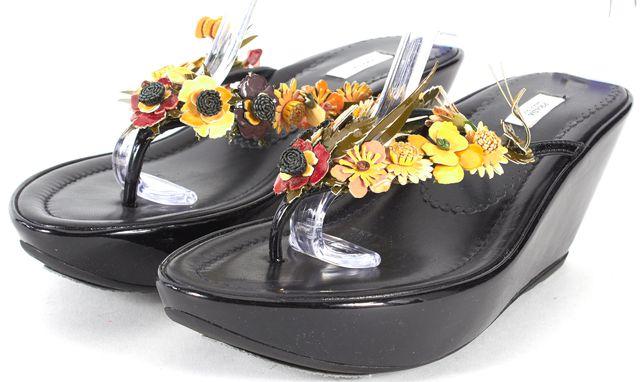 PRADA Black Embellished Leather Platforms & Wedges