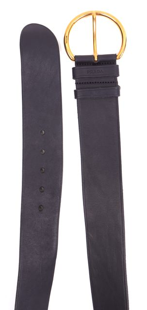 PRADA Black Leather Gold Buckle Wide Belt