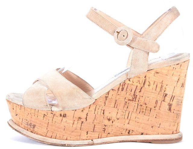 PRADA Beige Suede Platforms & Wedges Sandal
