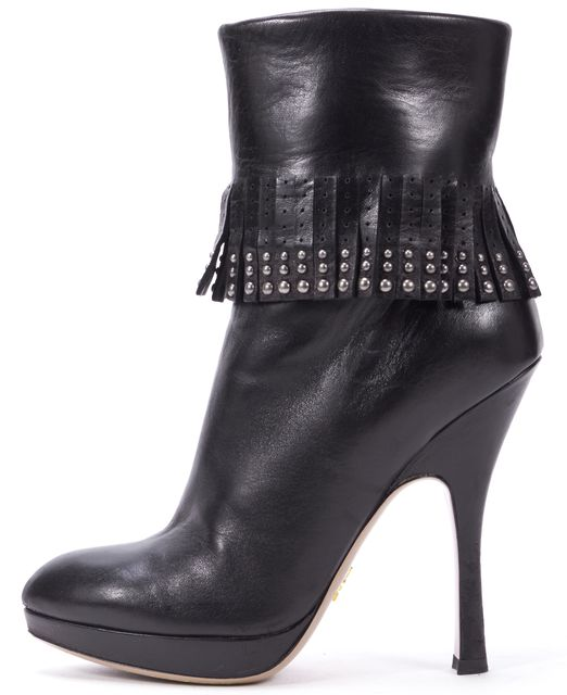 PRADA Black Leather Stud Embellished Fringe Platform Ankle Boots