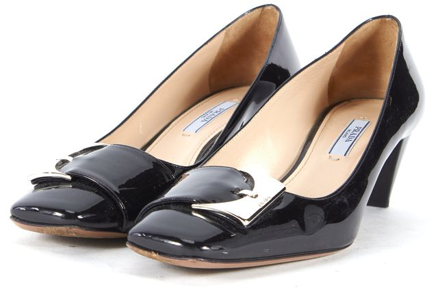 PRADA Black Patent Leather Heeled Loafers