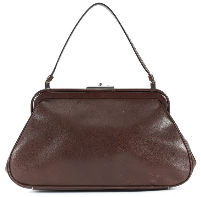 PRADA Chocolate Brown Leather Framed Top Handle Bag