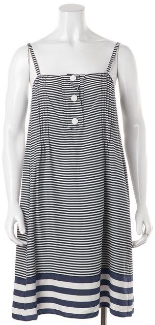 PRADA Blue White Striped Silk Spaghetti Strap Shift Dress One