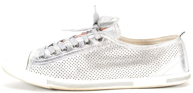 PRADA Silver White Perforated Leather Lace Up Sneakers