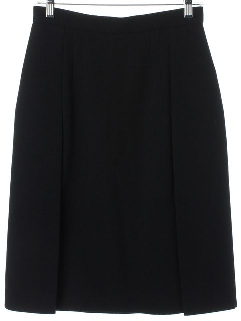 PRADA Black Wool Double Front Slits Knee Length A-Line Skirt