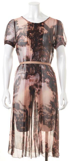 PRADA Purple Brown Abstract Pleated Sheer Belted Sheath Dress