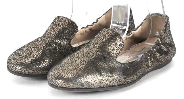 PRADA Bronze Brown Black Crackle Leather Loafer Flats