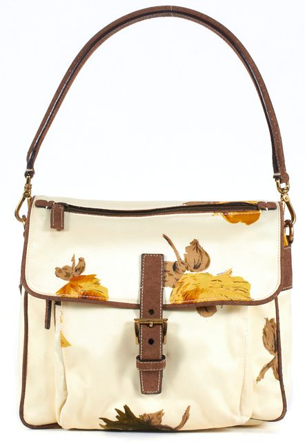 PRADA Ivory Yellow Brown Floral Silk Leather Trim Shoulder Bag