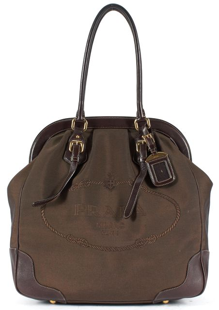 PRADA Brown Woven Canvas Leather Trim Doctor Shoulder Bag
