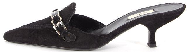 PRADA Black Suede Pointed Toe Kitten Heeled Mules