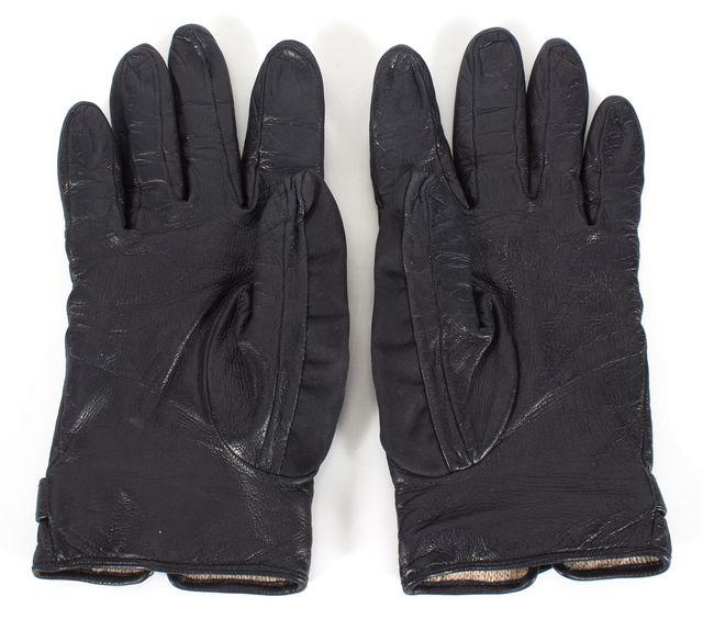 PRADA Black Nylon Leather Cashmere Lined Gloves