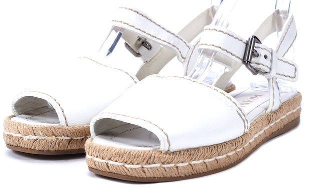 PRADA White Leather Flat Espadrille Sandals