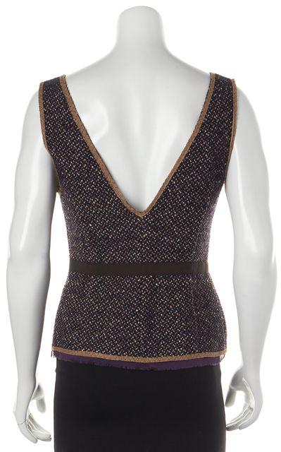 PRADA Purple Brown Embellished Tweed Deep V-Neck Blouse Top