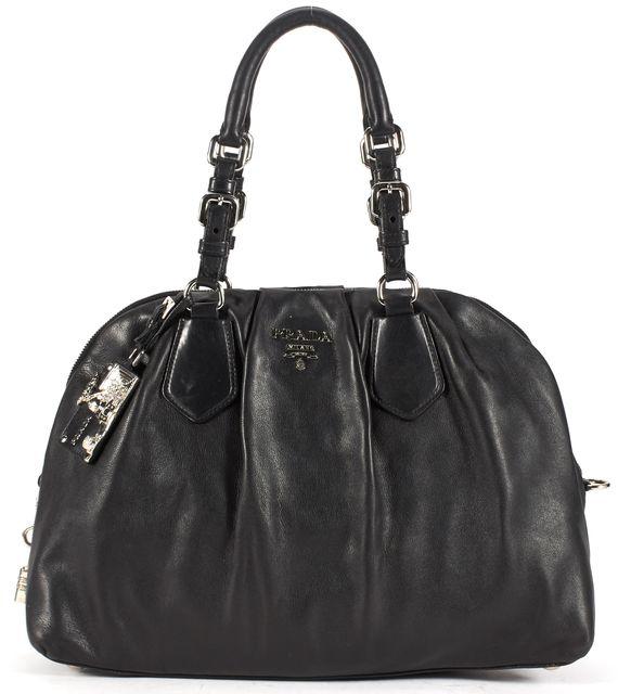 PRADA Black Leather Silver Hardware Bowling Satchel Bag