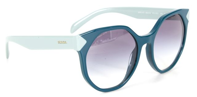 PRADA Teal Blue Acetate Frame Gradient Lens Round Sunglasses w/ Case