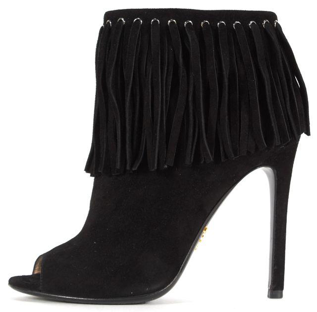 PRADA Black Fringe Suede Pump Heels