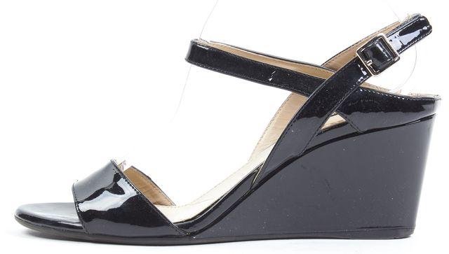 PRADA Black Patent Leather Sandal Wedges