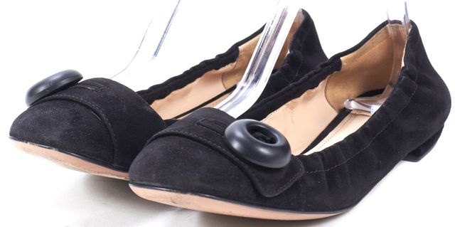 PRADA Black Suede Genuine Leather Button Toe Flats