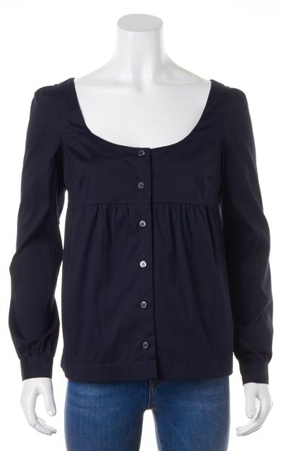 PRADA Navy Blue Button Down Long Sleeve Cotton Blouse Top