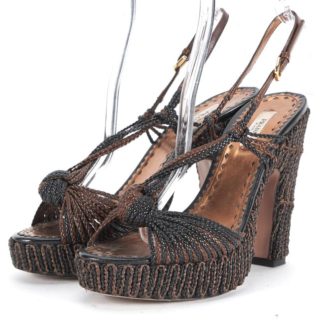 PRADA Brown Black Braided Leather Raffia Slingback Platform Heels