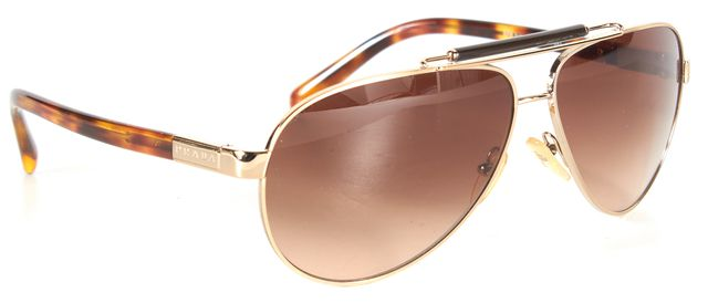 PRADA Warm Brown Gold Tortoise Shell Aviator Sunglasses