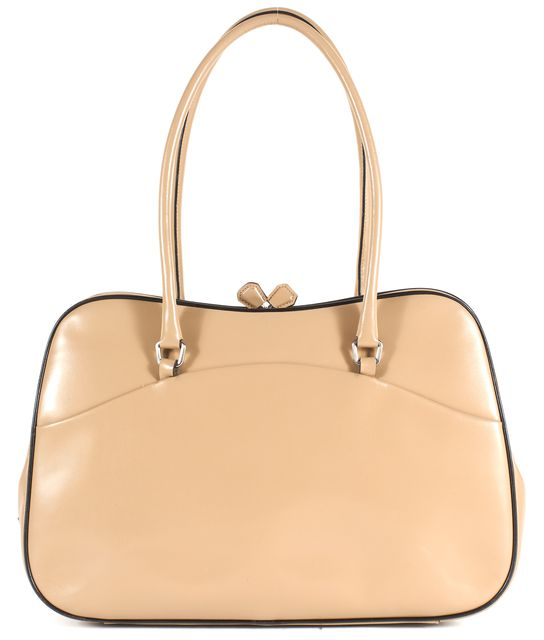 PRADA Beige Leather Kiss Lock Vintage Style Shoulder Bag