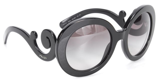 PRADA Black Minimal Baroque Oversized Round Sunglasses w Case
