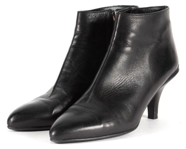 PRADA Solid Black Leather Ankle Heels