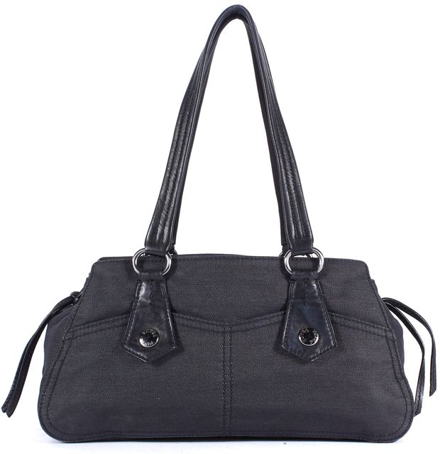 PRADA Black Denim Leather Trim Silver Hardware Drawstring Detail Shoulder Bag