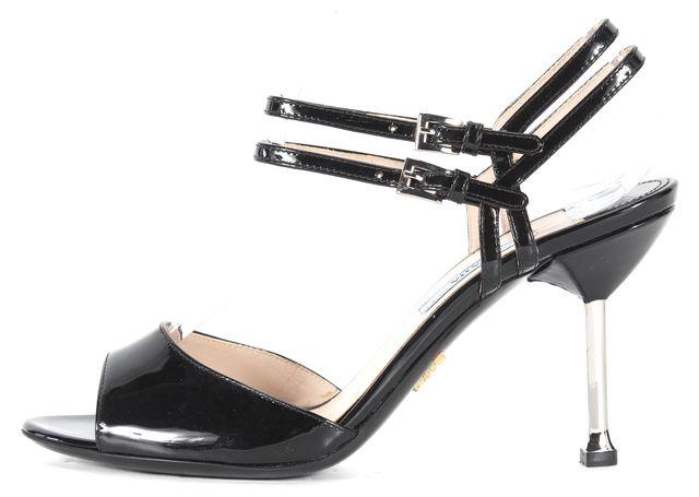 PRADA Black Patent Leather Ankle Strap Sandal Heels