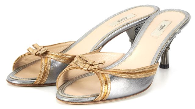 PRADA Silver Gold Leather Jewel Embellished Mules Size EU 38.5 US 8.5