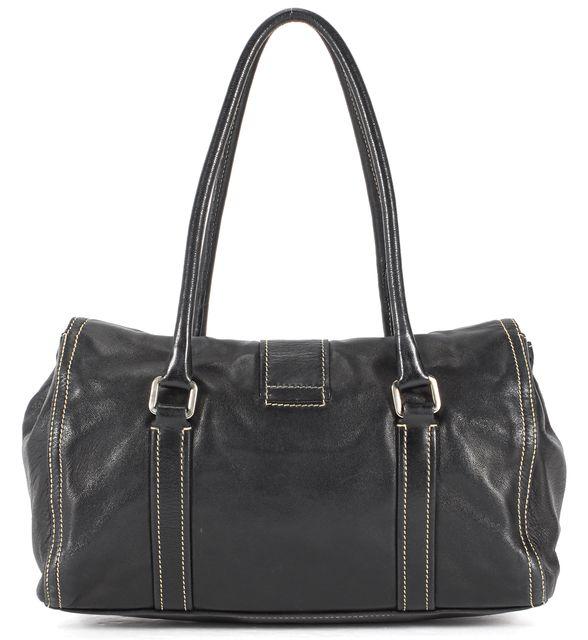 PRADA Black Leather Silver Hardware Shoulder Bag