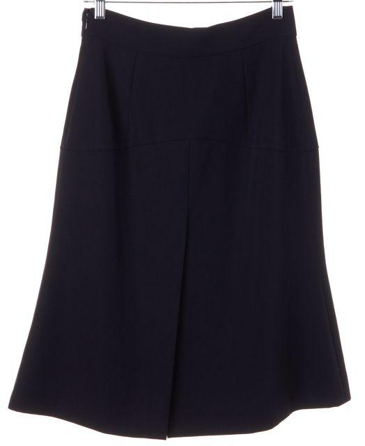 PRADA Navy Blue Wool Pleated A-Line Skirt