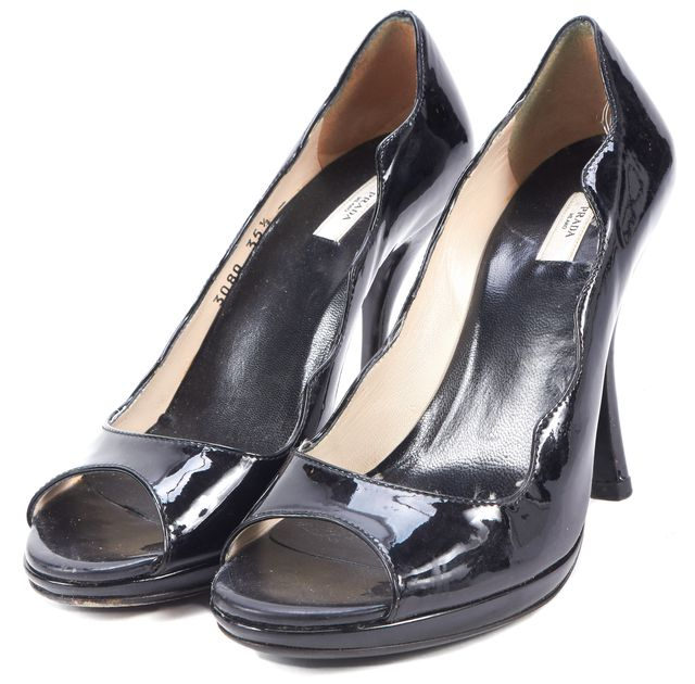 PRADA Black Patent Leather Open-Toe Scalloped Edges Pumps Heels