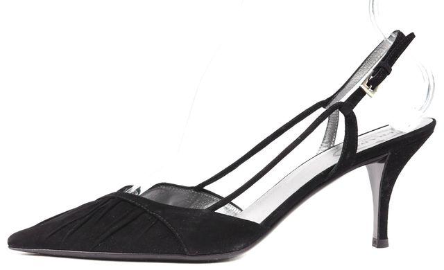 PRADA Black Suede Pointed Toe Slingback Heels
