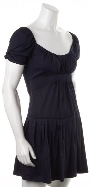 PRADA Navy Blue Stretch Cotton Pleated Peasant Fit & Flare Mini Dress
