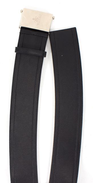 PRADA Solid Black Silver Leather Adjustable Buckle Belt