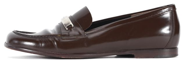 PRADA Brown Silver Hardware Embellished Patent Leather Loafers