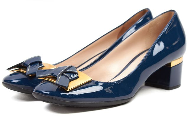 PRADA Blue Patent Leather Gold-Tone Hardware Bow Pump Heels Size 37.5 US 7.5