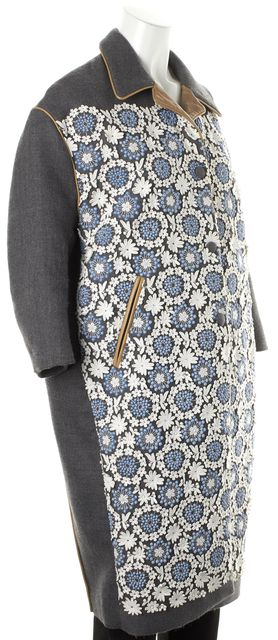 PRADA Gray Blue White Floral Crochet Embroidered Leather Trim Coat