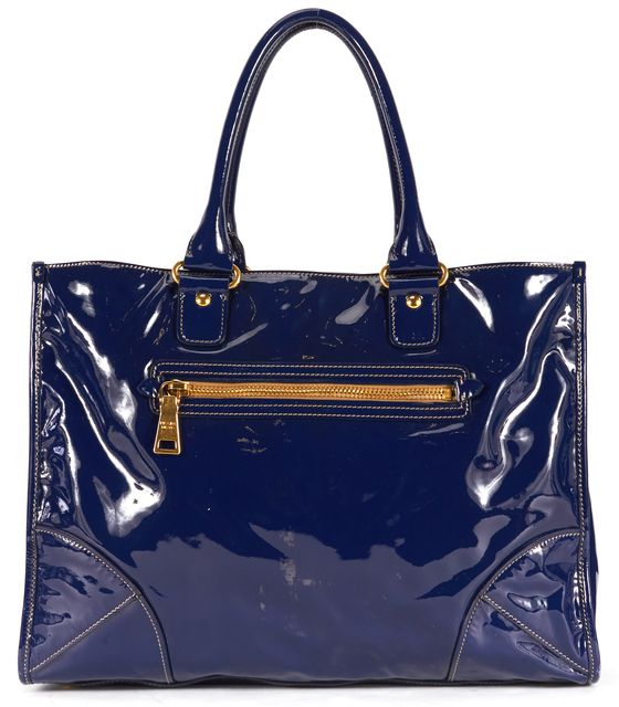 PRADA Navy Blue Gold Anthracite Vernice Patent Leather Tote Bag