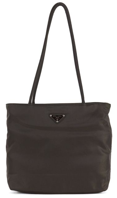 PRADA Dark Chocolate Brown Nylon Tessuto City Tote Shoulder Bag
