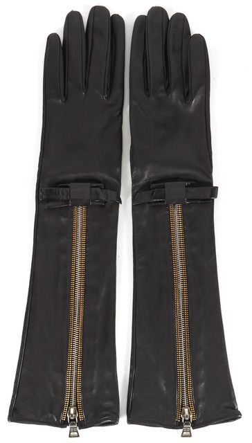 PRADA Black Leather Zipper Long Gloves