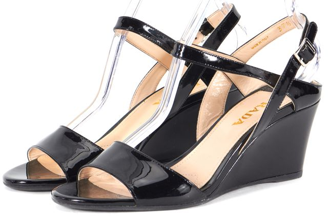 PRADA /NWB Black Vernice Patent Leather Open Toe Sandal Wedges