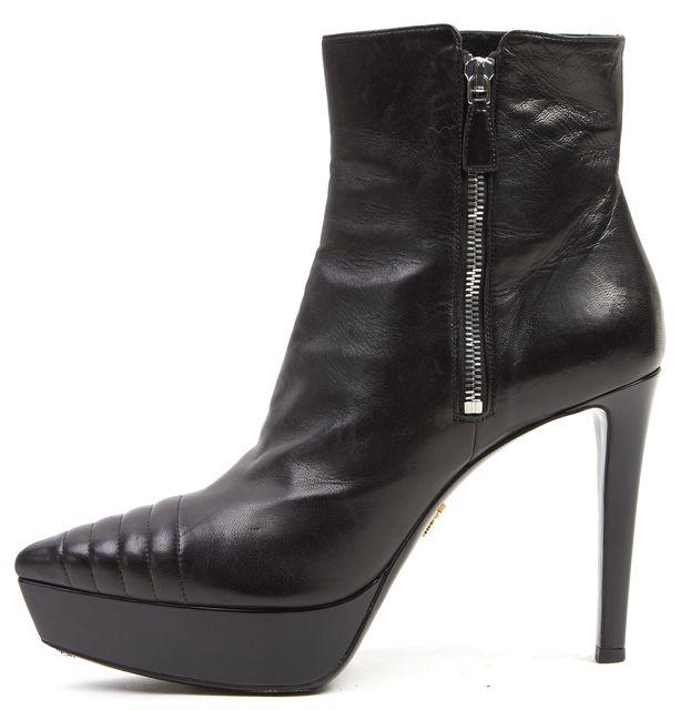 PRADA Black Leather Pointed Toe Platform Ankle Boots