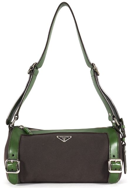PRADA Chocolate Brown Green Canvas Leather Trim Shoulder Bag
